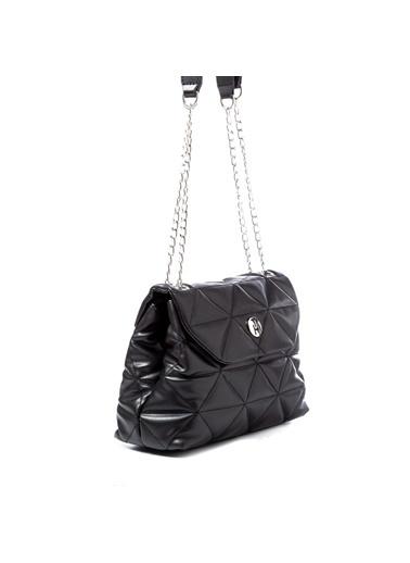 TH Bags TH Bags 2THCW2020062 Mıknatıslı Desenli Zincir Askılı Kadın Çapraz Çanta Siyah